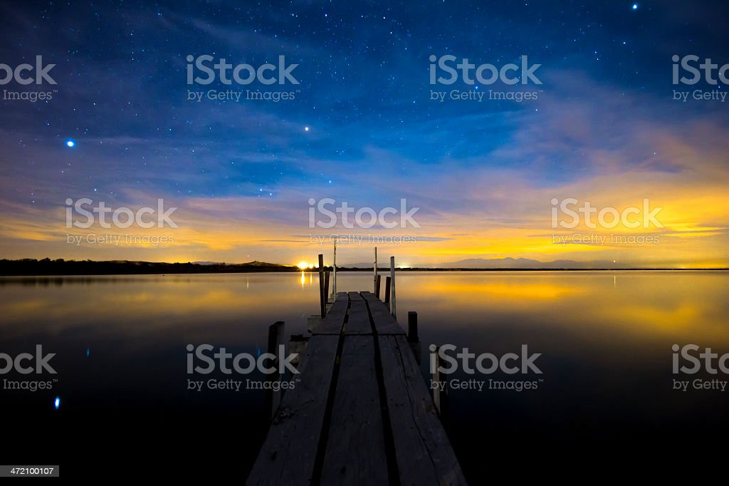 Night Sky Over a Dock and Still Water royalty-free stock photo