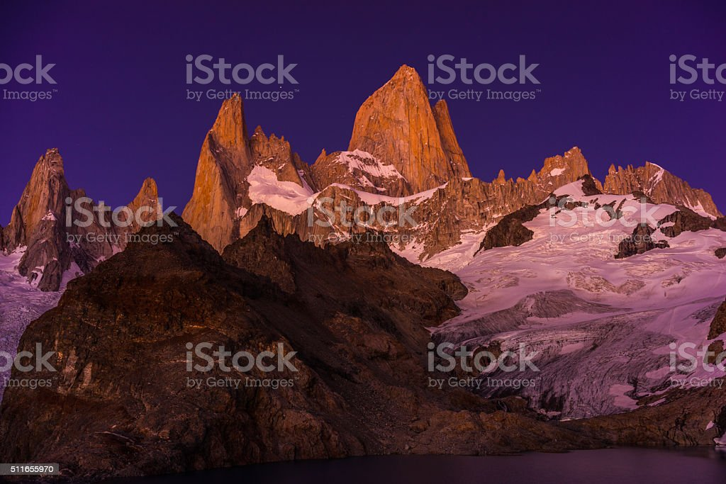 Night Sky Over Mt. Fitz Roy, Patagonia Region of Argentina stock photo