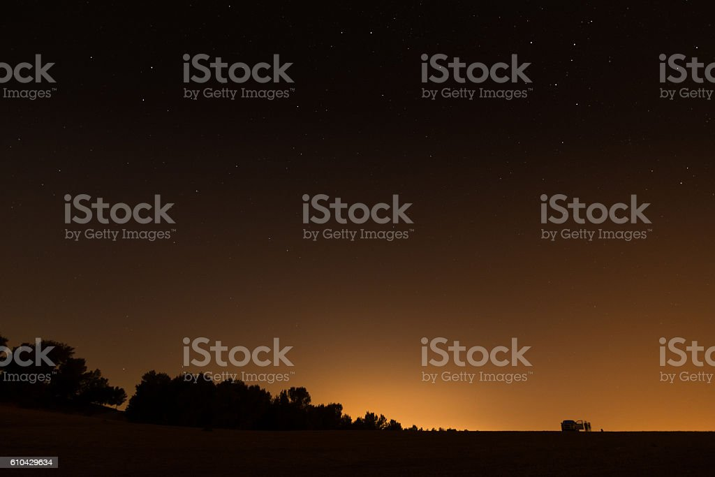 Night sky over the Israel Negev desert stock photo