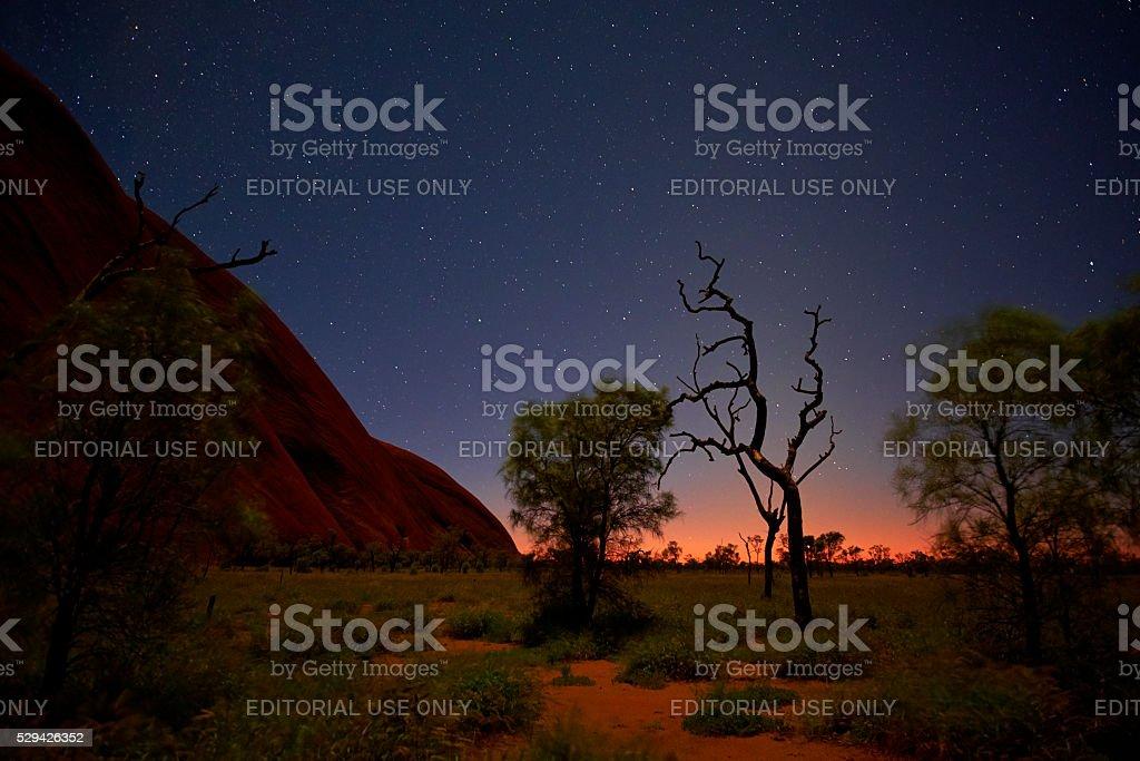 Night Sky Over Uluru stock photo