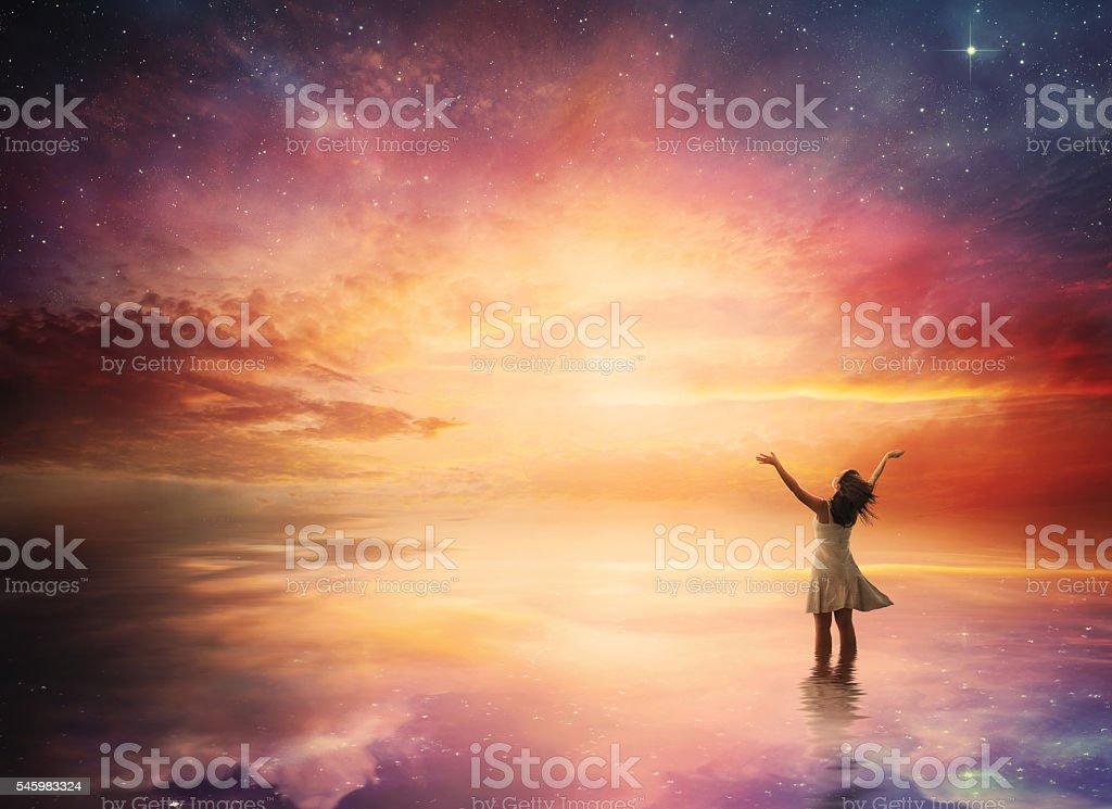 Night sky praise stock photo