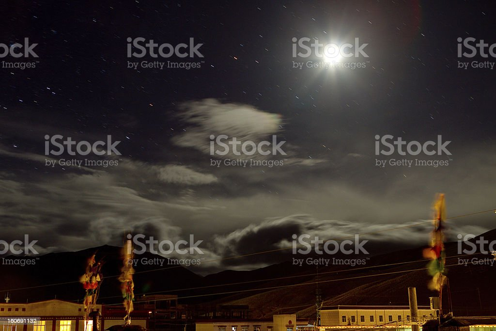 Night sky with clouds and moon royalty-free stock photo