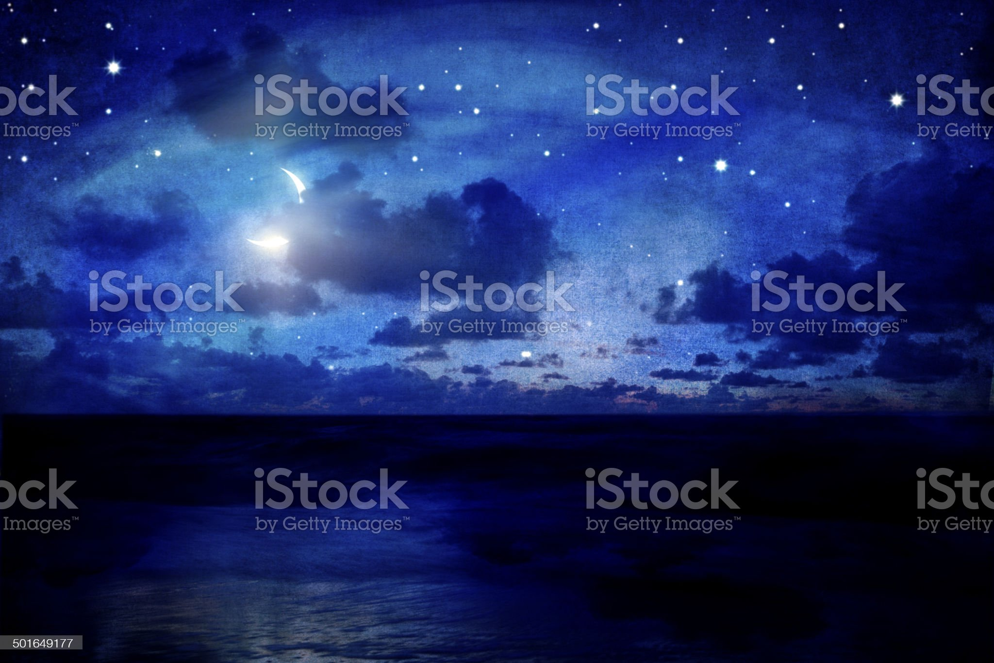 Night Sky With Moon And Stars royalty-free stock photo