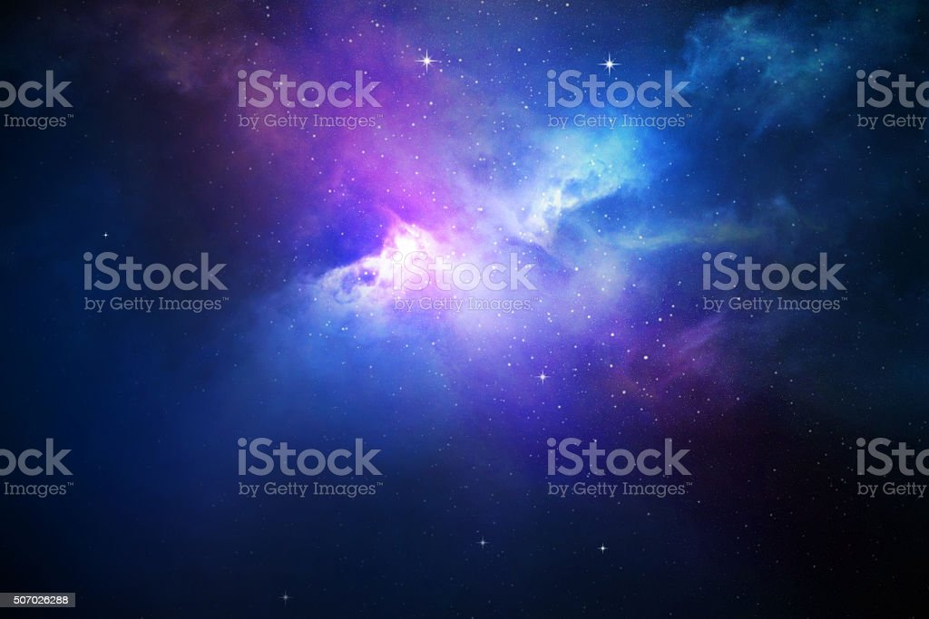 Night sky with stars and nebula stock photo