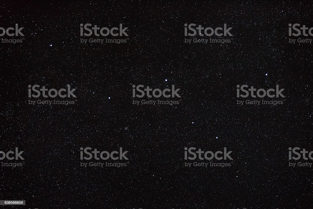 Night sky with stars and the constellation Cassiopeia. stock photo