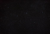 Night sky with stars and the constellation Cassiopeia.