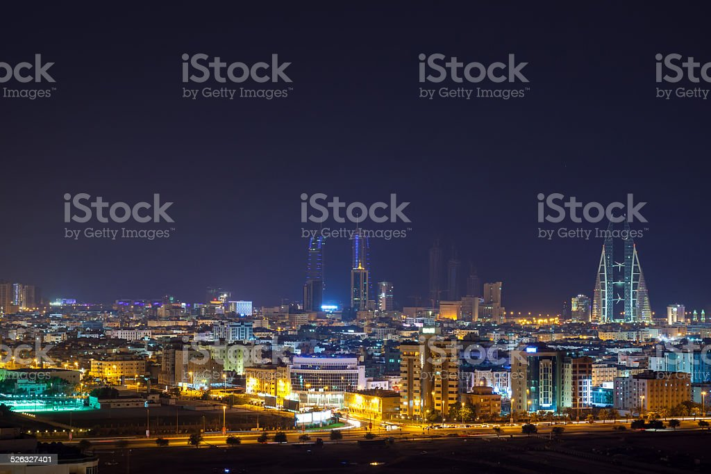 Night skyline of Manama, the Capital city of Bahrain stock photo