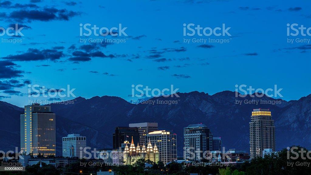 Night skyline of Salt Lake City stock photo