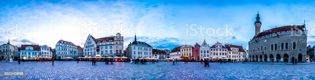 Night Skyline of Tallinn Town Hall Square, Estonia stock photo