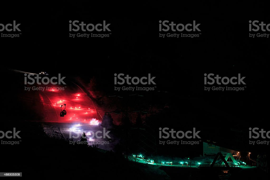 Night snow skiing   Witer high mountain landscape stock photo