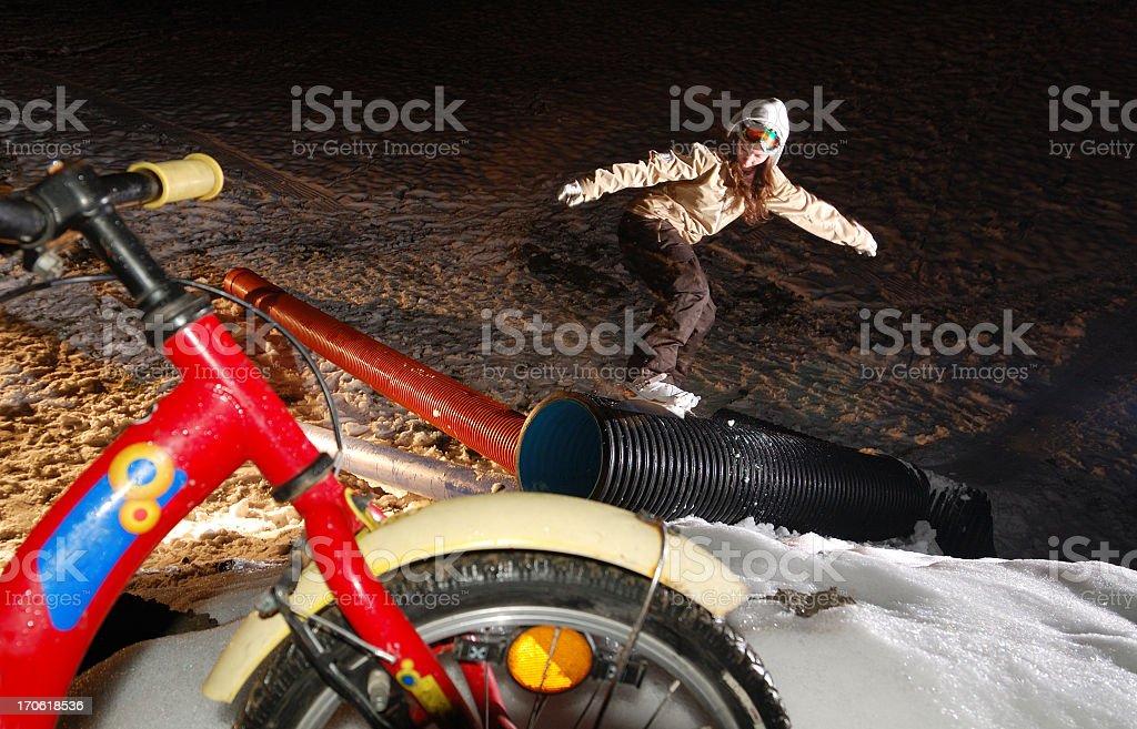 night snowboarding stock photo
