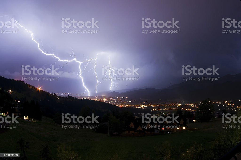 Night storm in mountains royalty-free stock photo