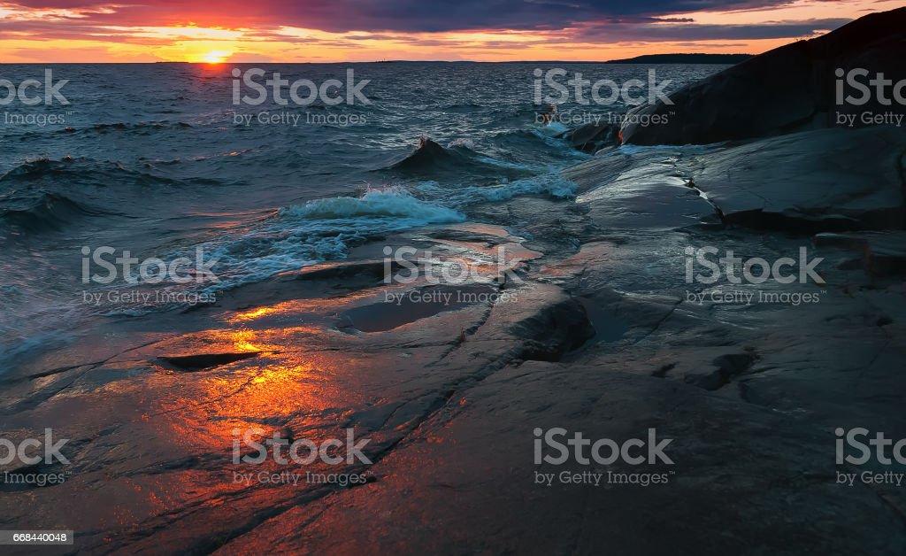 Night Stormy Lake Onega in Karelia stock photo