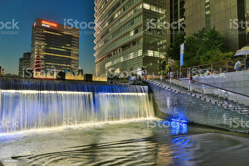 Night Stream Waterfall stock photo