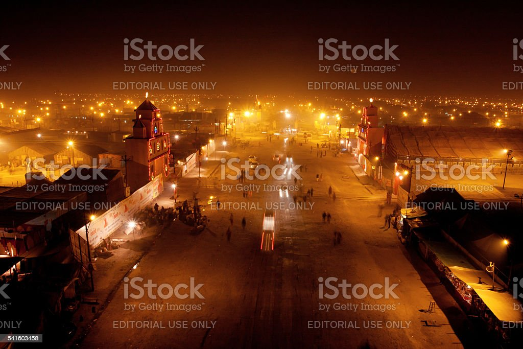 Night street in the camp town during the festival stock photo