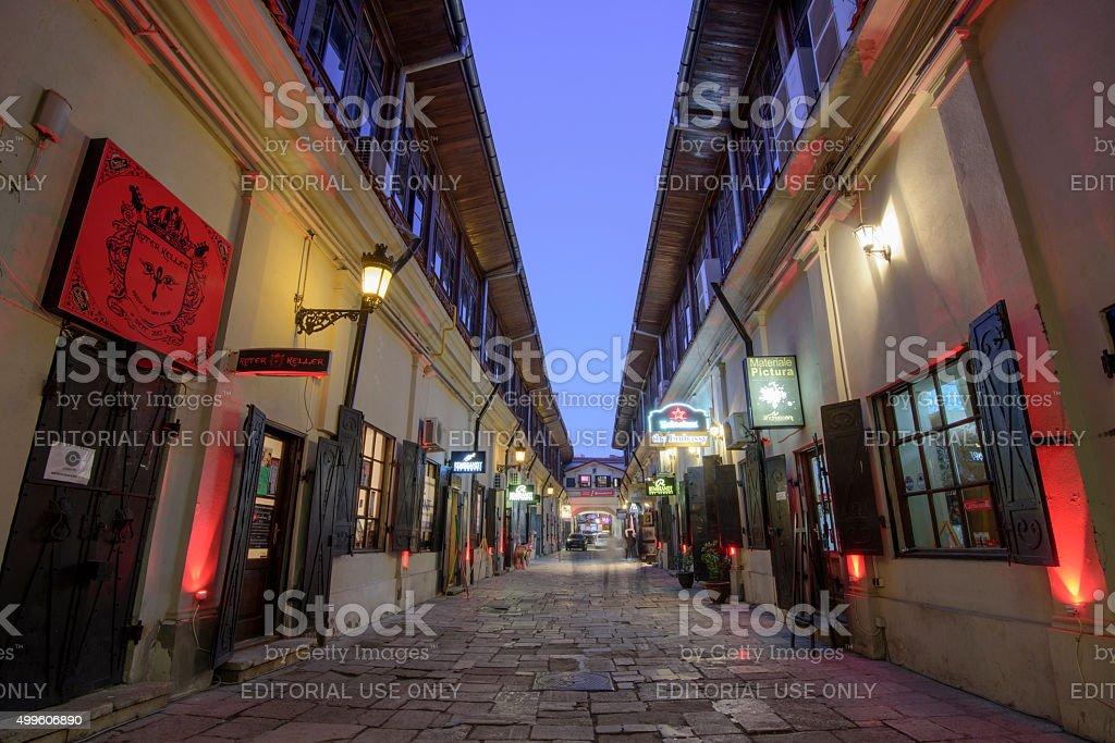 Night street scene in Bucharest old city stock photo