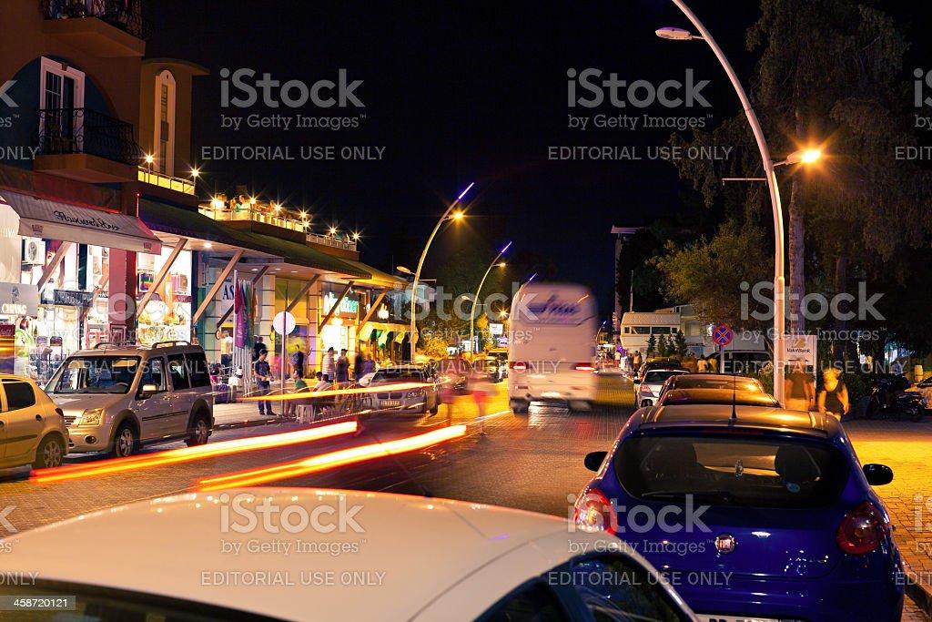 Night street scene in Kemer royalty-free stock photo