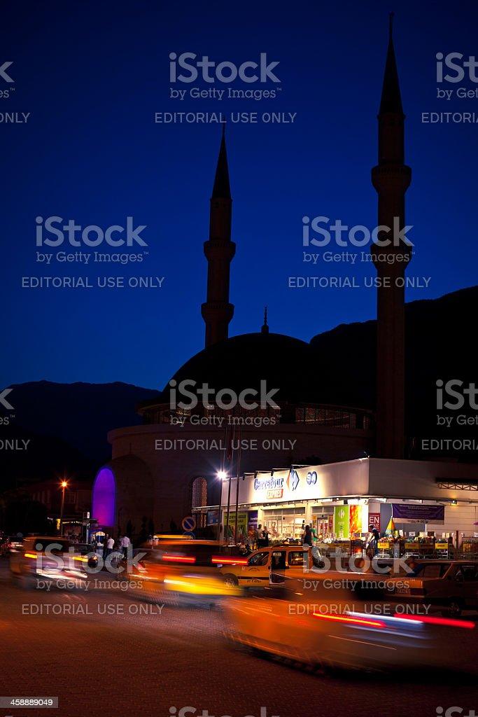 Night street scene in Kemer stock photo