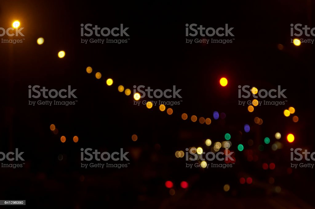 Night street view , colorful traffic and street lights. stock photo