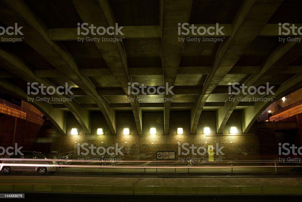Night street view under a bridge royalty-free stock photo