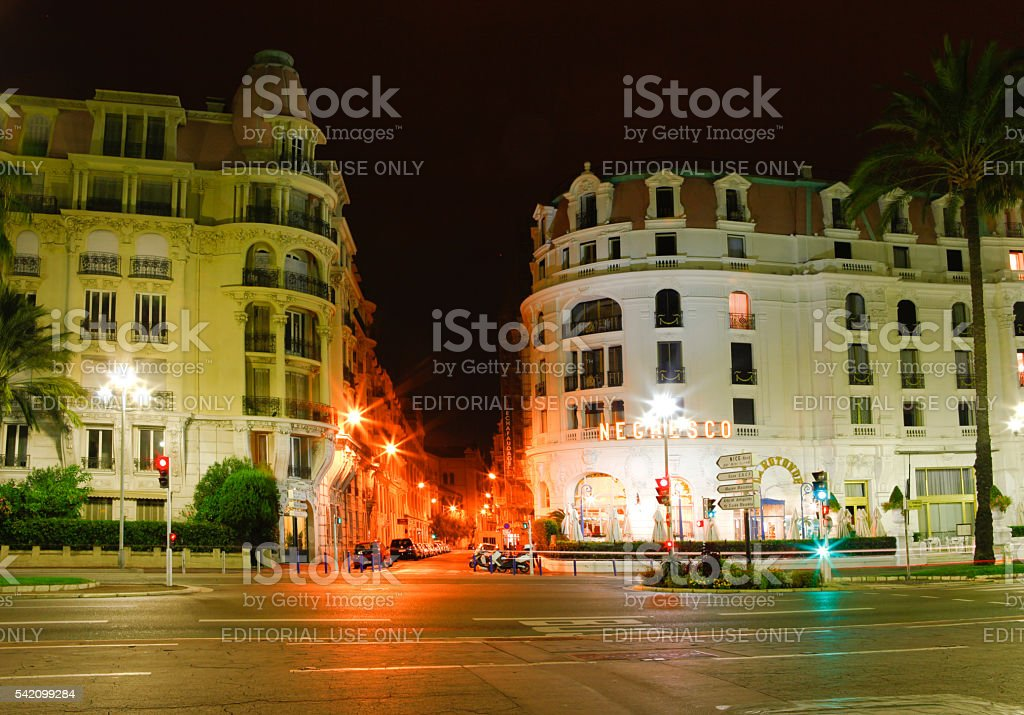 Night streets view  of Nice in France stock photo