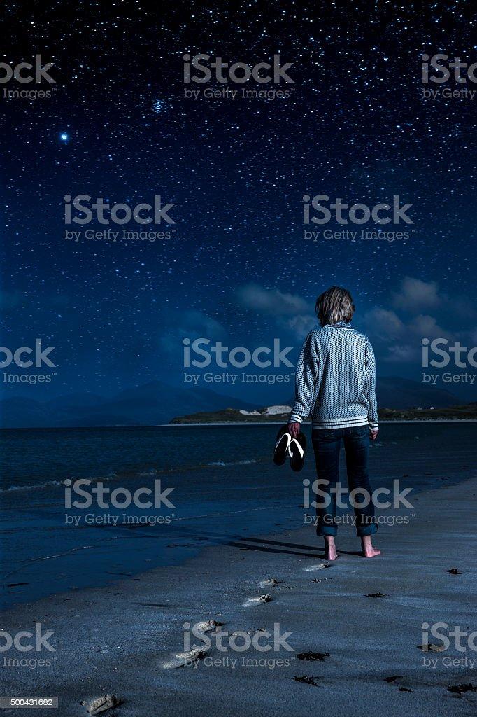 Night stroll on Luskentyre beach stock photo