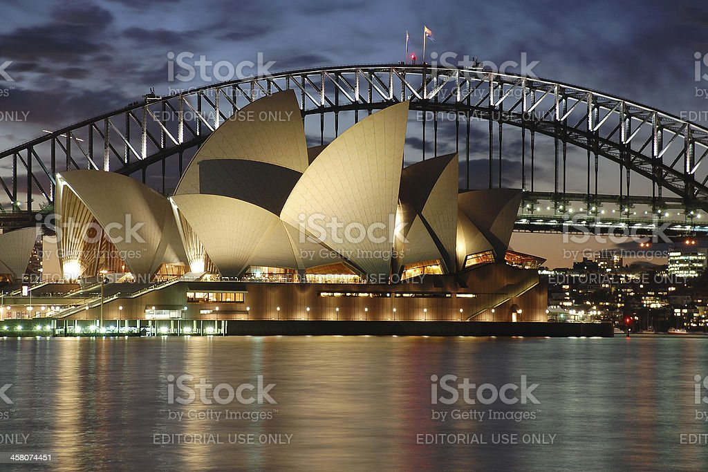 Night Sydney Opera House with Harbour Bridge at dusk stock photo