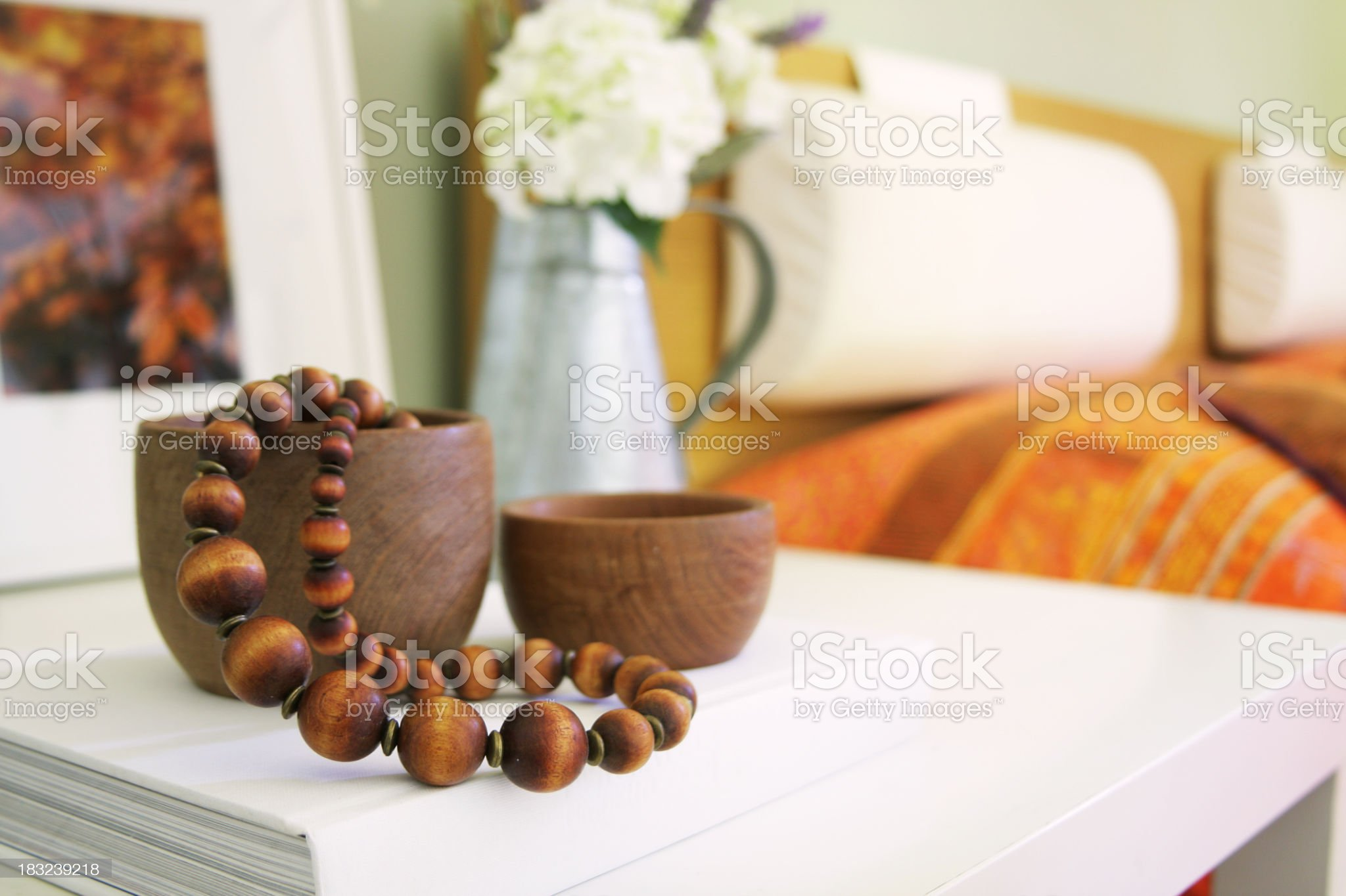 Night table close up with bed at the background royalty-free stock photo
