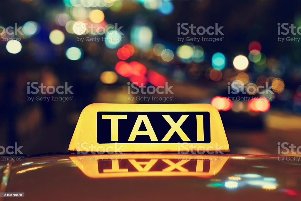 Night taxi stock photo