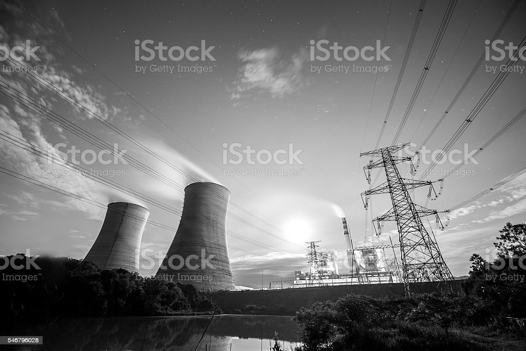 Night thermal power plant stock photo