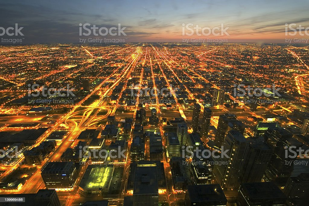 Night time aerial view of Chicago stock photo