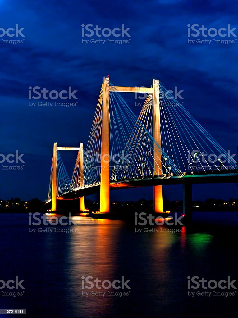 Night time cable bridge image. stock photo
