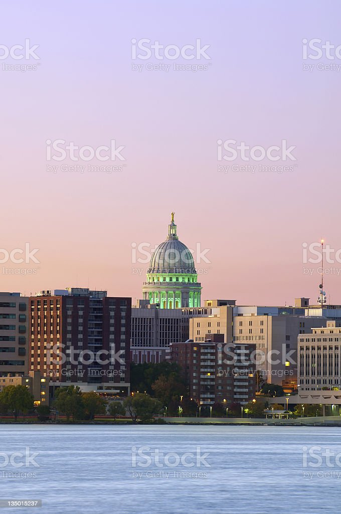 Night time cityscape of Madison stock photo