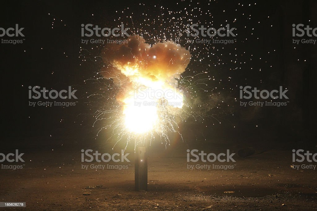 Night time explosion against black background royalty-free stock photo