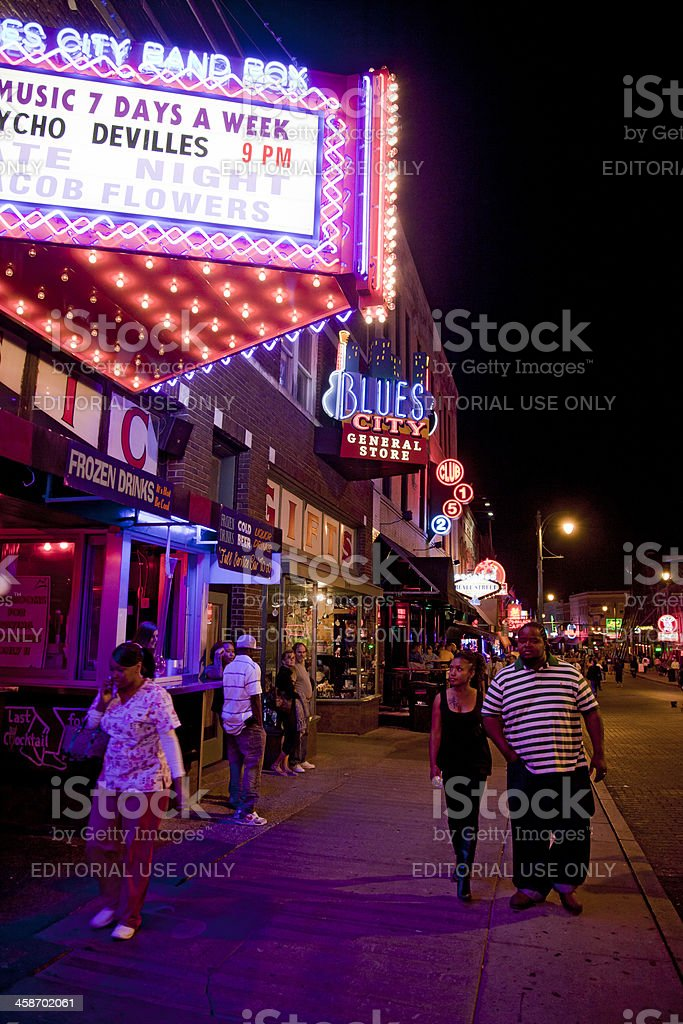 Night time in Beale Street, Memphis Tennessee royalty-free stock photo