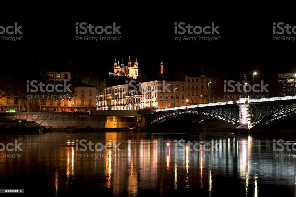 Night TIme in Lyon, France royalty-free stock photo