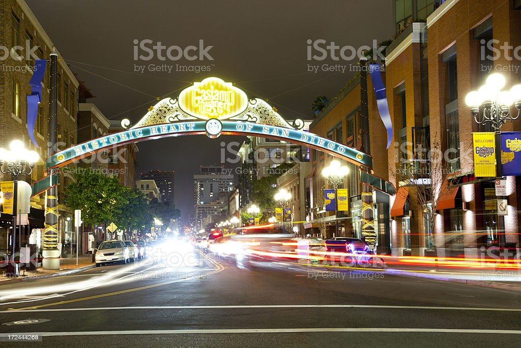 Night time in the Gaslamp Quarter in San Diego stock photo