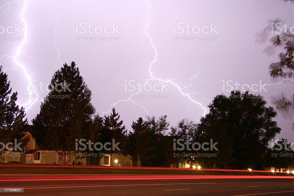 night time lightning strike royalty-free stock photo