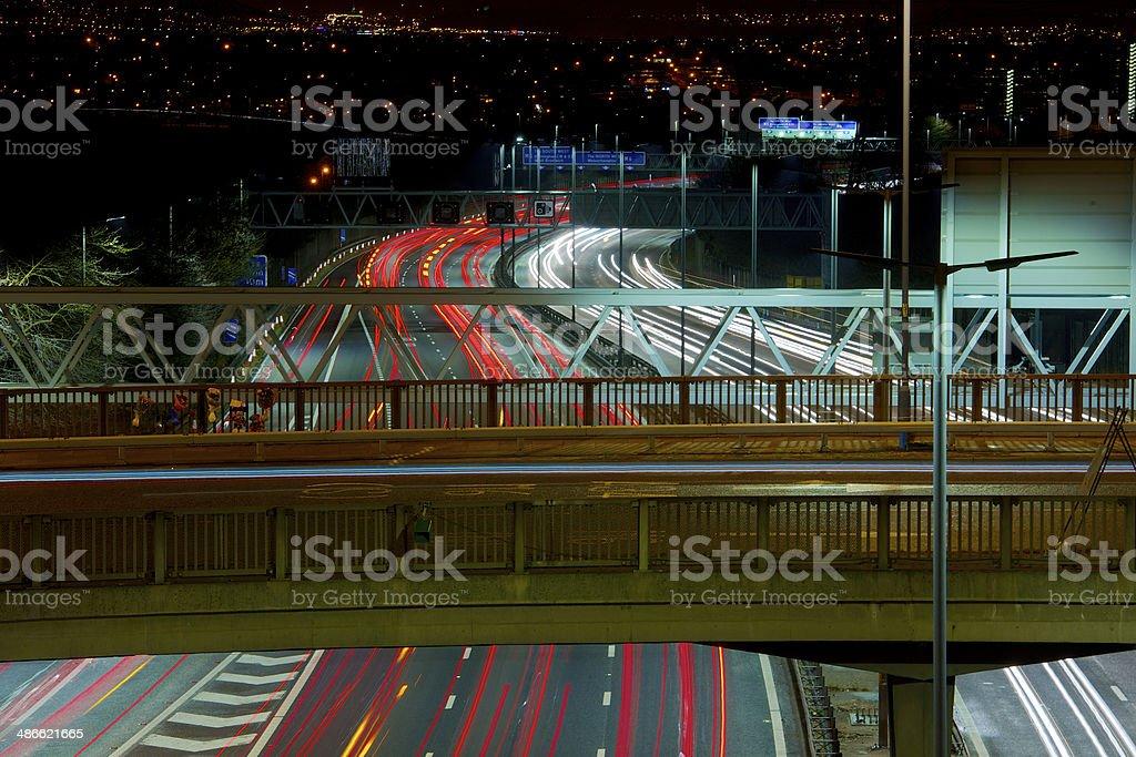 Night time motorway traffic. royalty-free stock photo