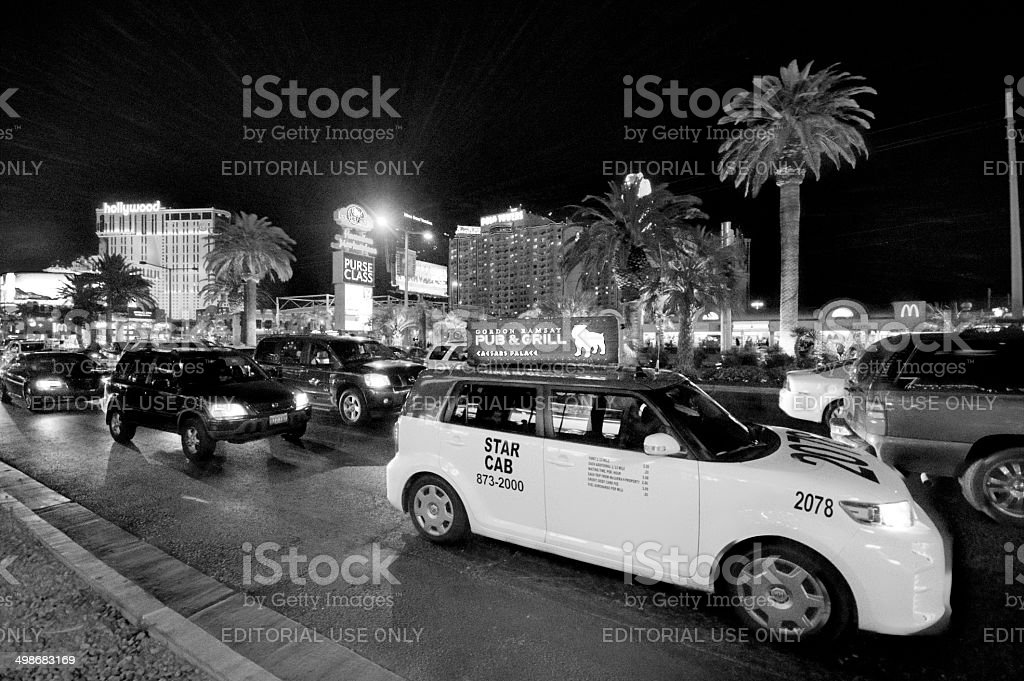 Night time on the strip stock photo