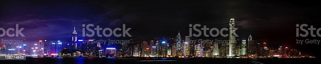 Night Time Panoramic View of Hong Kong Island royalty-free stock photo
