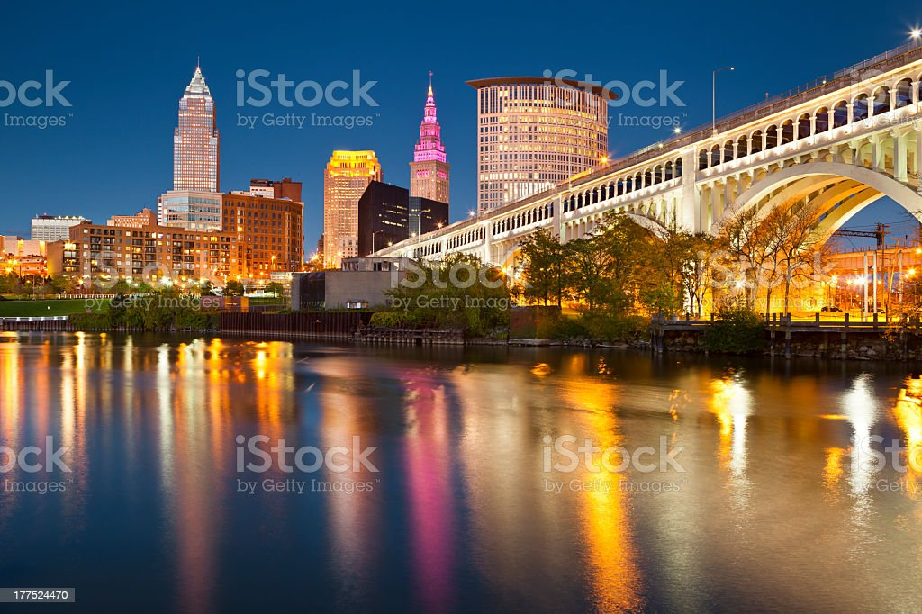 Night time photo of downtown Cleveland's skyline stock photo