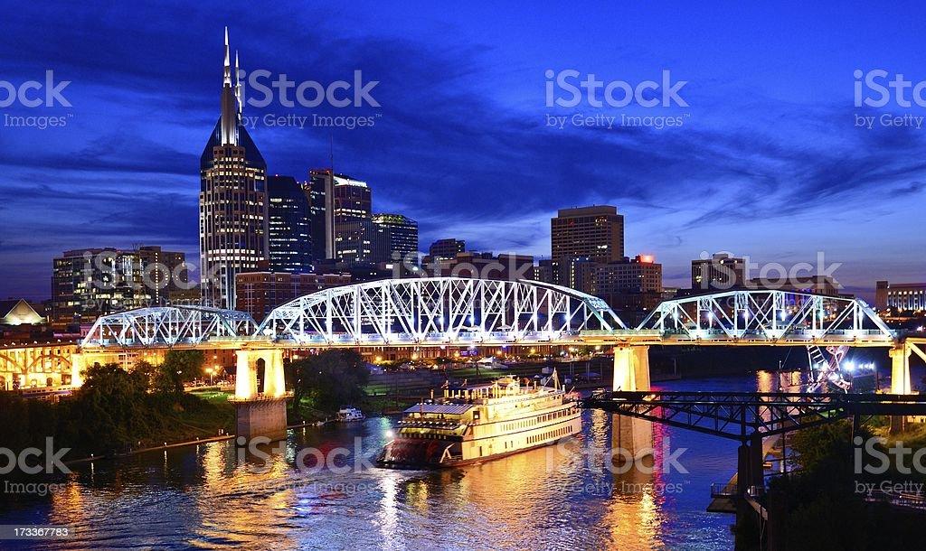Night time photo of downtown Nashville stock photo