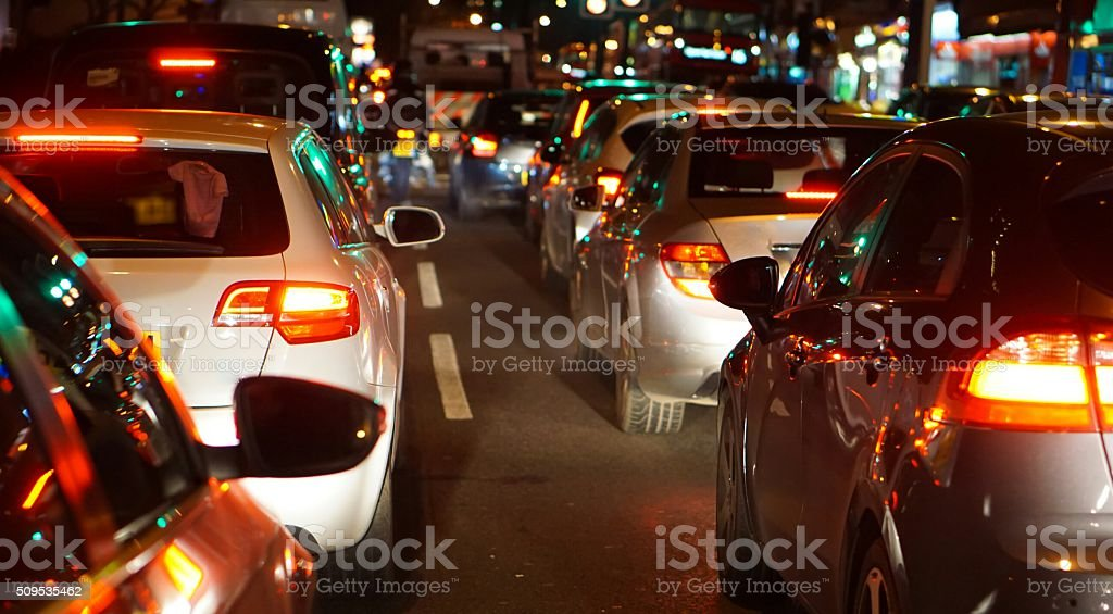 Night Time Traffic Jam In Central London stock photo
