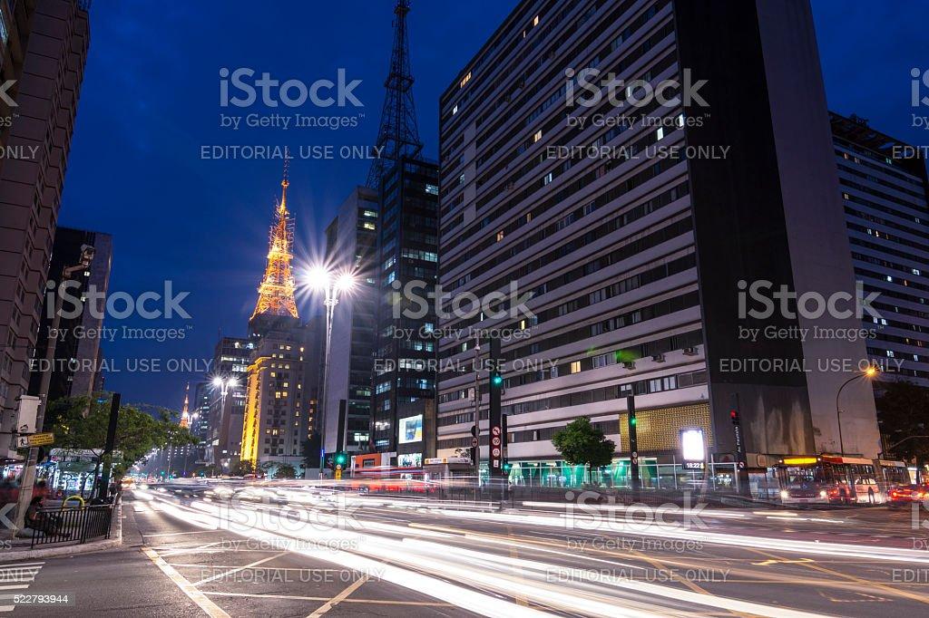 Night time traffic on Paulista Avenue in Sao Paulo, Brazil stock photo