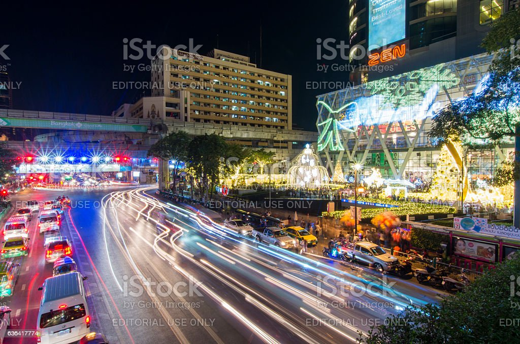 Night time traffic on road stock photo
