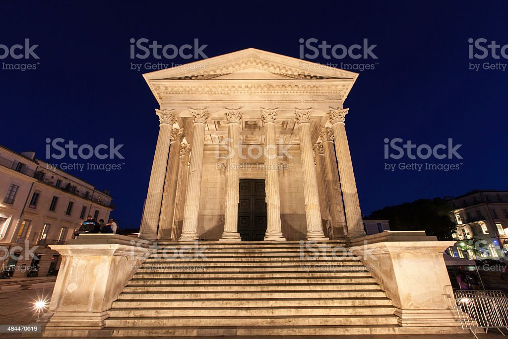 Night time view Het Maison Cattee, Nimes France stock photo