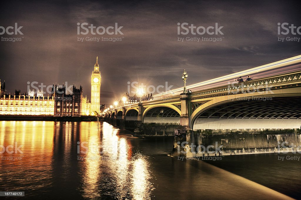 Night time, Westminster Bridge, Big Ben royalty-free stock photo