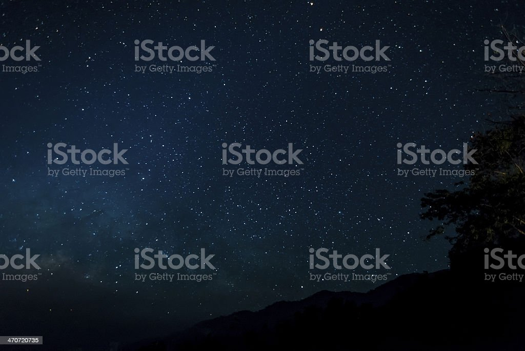 Night time  with stars in sky stock photo
