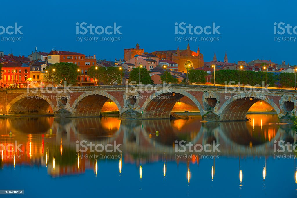 Night Toulouse in summer stock photo